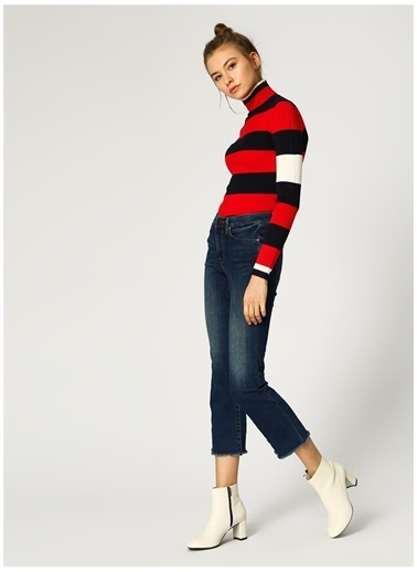 Only Only Paça Detaylı Lacivert Straight Denim Pantolon Lacivert